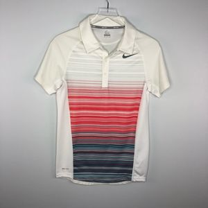Nike Tennis Dri-Fit Polo Stripe Shirt S EUC